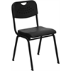 Flash Furniture HERCULES Series 880 lb. Capacity Black Plastic Stack Chair with Black Frame