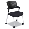 Spry Series Guest Chair w/Casters, Plastic Back/Fabric Seat, Black/Chrome