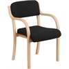 Flash Furniture Contemporary Black Fabric Wood Side Chair with Beech Frame