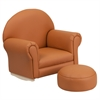 Kids Brown Vinyl Rocker Chair and Footrest