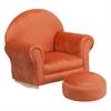 Kids Orange Microfiber Rocker Chair and Footrest