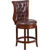 26'' High Dark Chestnut Wood Counter Height Stool with Hepatic Leather Swivel Seat