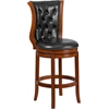 30'' High Brandy Wood Barstool with Black Leather Swivel Seat