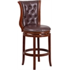 30'' High Dark Chestnut Wood Barstool with Hepatic Leather Swivel Seat