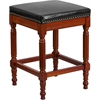 Flash Furniture 26'' High Backless Light Cherry Wood Counter Height Stool with Black Leather Seat