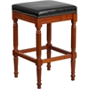 30'' High Backless Light Cherry Wood Barstool with Black Leather Seat