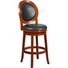30'' High Light Cherry Wood Barstool with Walnut Leather Swivel Seat