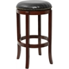Flash Furniture 29'' Backless Cherry Wood Barstool with Black Leather Swivel Seat