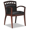 Mercado Arch-Back Wood Guest Chair, Sierra Cherry, BLK Leather, 2/Carton