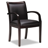 Mercado Series Ladder-Back Wood Guest Chair, Sierra Cherry Finis, Black Leather