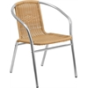 Aluminum and Beige Rattan Commercial Indoor-Outdoor Restaurant Stack Chair