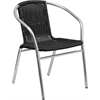 Aluminum and Black Rattan Commercial Indoor-Outdoor Restaurant Stack Chair