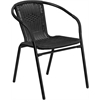 Black Rattan Indoor-Outdoor Restaurant Stack Chair