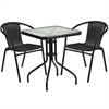Flash Furniture 23.5'' Square Glass Metal Table with 2 Black Rattan Stack Chairs