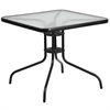 Flash Furniture 31.5'' Square Tempered Glass Metal Table