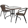 28'' Square Glass Metal Table with Dark Brown Rattan Edging and 2 Dark Brown Rattan Stack Chairs