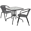 28'' Square Glass Metal Table with Gray Rattan Edging and 2 Gray Rattan Stack Chairs