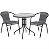 28'' Round Glass Metal Table with Gray Rattan Edging and 2 Gray Rattan Stack Chairs