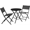 23.75'' Round Tempered Glass Metal Outdoor Table with 2 Textilene Fabric Folding Chairs