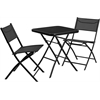 23.75'' Square Tempered Glass Metal Outdoor Table with 2 Textilene Fabric Folding Chairs