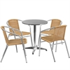 23.5'' Round Aluminum Indoor-Outdoor Table with 4 Beige Rattan Chairs