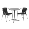 23.5'' Round Aluminum Indoor-Outdoor Table with 2 Black Rattan Chairs