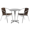 23.5'' Round Aluminum Indoor-Outdoor Table with 2 Dark Brown Rattan Chairs