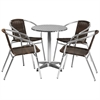 Flash Furniture 23.5'' Round Aluminum Indoor-Outdoor Table with 4 Dark Brown Rattan Chairs
