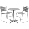 23.5'' Round Aluminum Indoor-Outdoor Table Set with 2 Silver Metal Stack Chairs