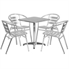 Flash Furniture 23.5'' Square Aluminum Indoor-Outdoor Table with 4 Slat Back Chairs