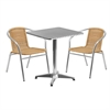 Flash Furniture 23.5'' Square Aluminum Indoor-Outdoor Table with 2 Beige Rattan Chairs