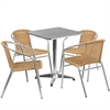 23.5'' Square Aluminum Indoor-Outdoor Table with 4 Beige Rattan Chairs