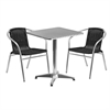 23.5'' Square Aluminum Indoor-Outdoor Table with 2 Black Rattan Chairs