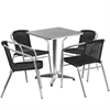 Flash Furniture 23.5'' Square Aluminum Indoor-Outdoor Table with 4 Black Rattan Chairs