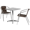 23.5'' Square Aluminum Indoor-Outdoor Table with 2 Dark Brown Rattan Chairs