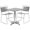 23.5'' Square Aluminum Indoor-Outdoor Table Set with 2 Silver Metal Stack Chairs