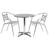 Flash Furniture 27.5'' Round Aluminum Indoor-Outdoor Table with 2 Slat Back Chairs