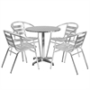 27.5'' Round Aluminum Indoor-Outdoor Table with 4 Slat Back Chairs