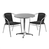 27.5'' Round Aluminum Indoor-Outdoor Table with 2 Black Rattan Chairs