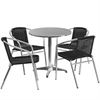 Flash Furniture 27.5'' Round Aluminum Indoor-Outdoor Table with 4 Black Rattan Chairs