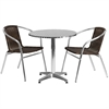 27.5'' Round Aluminum Indoor-Outdoor Table with 2 Dark Brown Rattan Chairs