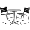 27.5'' Round Aluminum Indoor-Outdoor Table with 2 Black Metal Stack Chairs