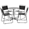 27.5'' Round Aluminum Indoor-Outdoor Table with 4 Black Metal Stack Chairs
