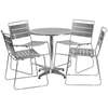 27.5'' Round Aluminum Indoor-Outdoor Table with 4 Silver Metal Stack Chairs