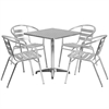 27.5'' Square Aluminum Indoor-Outdoor Table with 4 Slat Back Chairs