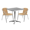27.5'' Square Aluminum Indoor-Outdoor Table Set with 2 Beige Rattan Chairs