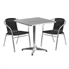 27.5'' Square Aluminum Indoor-Outdoor Table with 2 Black Rattan Chairs
