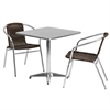 27.5'' Square Aluminum Indoor-Outdoor Table with 2 Dark Brown Rattan Chairs