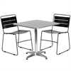 27.5'' Square Aluminum Indoor-Outdoor Table Set with 2 Black Metal Stack Chairs