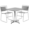 27.5'' Square Aluminum Indoor-Outdoor Table Set with 2 Silver Metal Stack Chairs